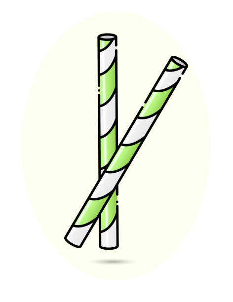 Two kawaii paper straws. Striped Green and white. Vector illustration vector art illustration