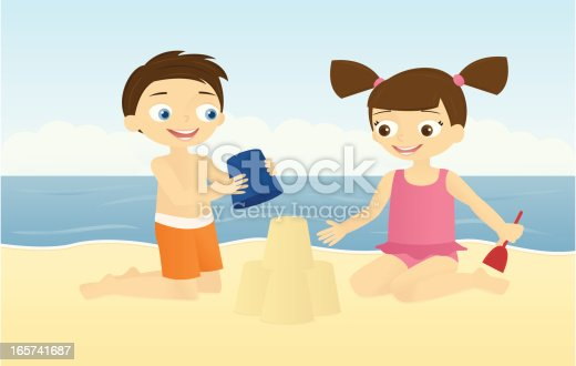 istock Two Kids Building a Sandcastle 165741687