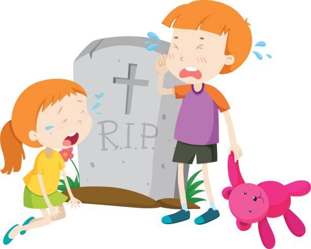 stockillustraties, clipart, cartoons en iconen met twee kinderen huilen op grafsteen - funeral crying