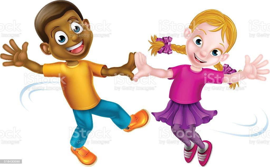 Two Kids Dancing vector art illustration