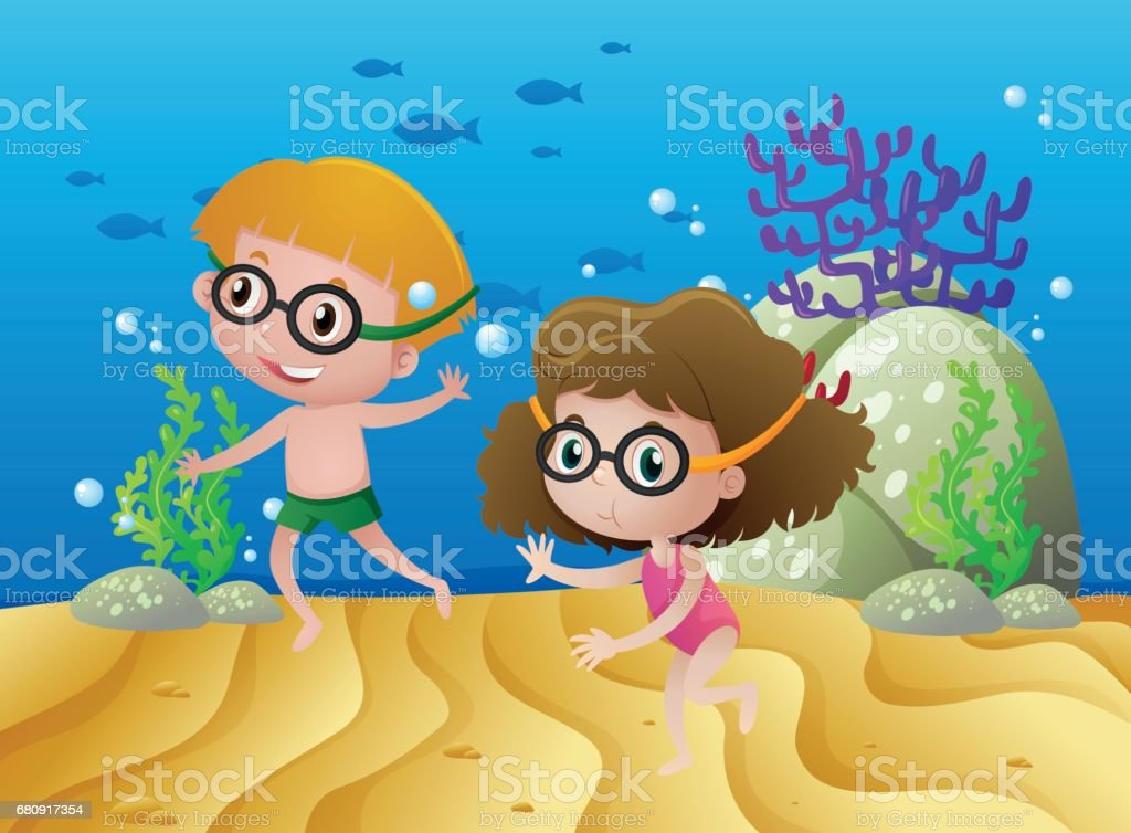 Two kids diving under the sea royalty-free two kids diving under the sea stock vector art & more images of activity