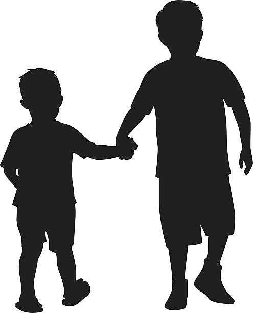 illustrations, cliparts, dessins animés et icônes de two kids holding hands silhouette - frère