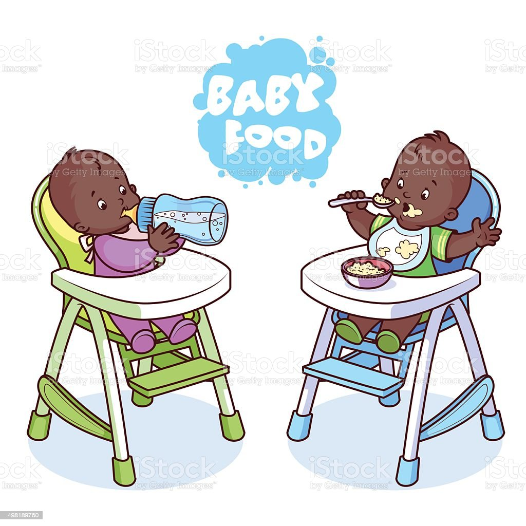 Two kids in baby highchair. vector art illustration