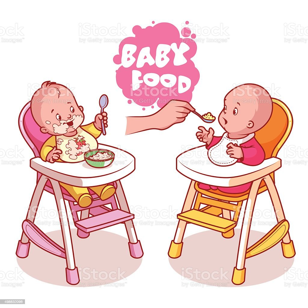 Two kids in baby highchair with plate of porridge. vector art illustration
