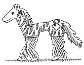 Two KIds In Carnival Zebra Costume Drawing
