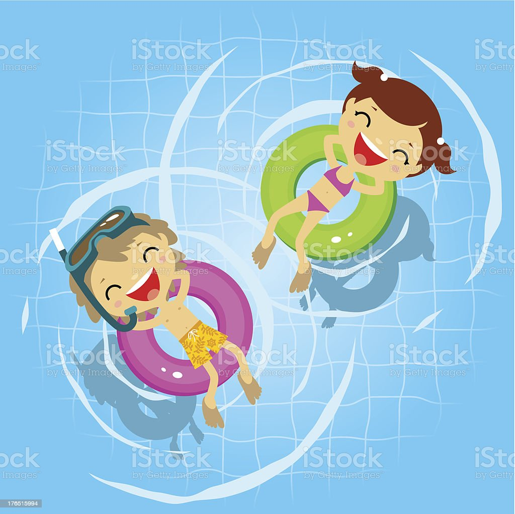 Two kids in the swimming pool vector art illustration