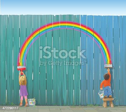 A boy and a girl paint a rainbow on a fence.