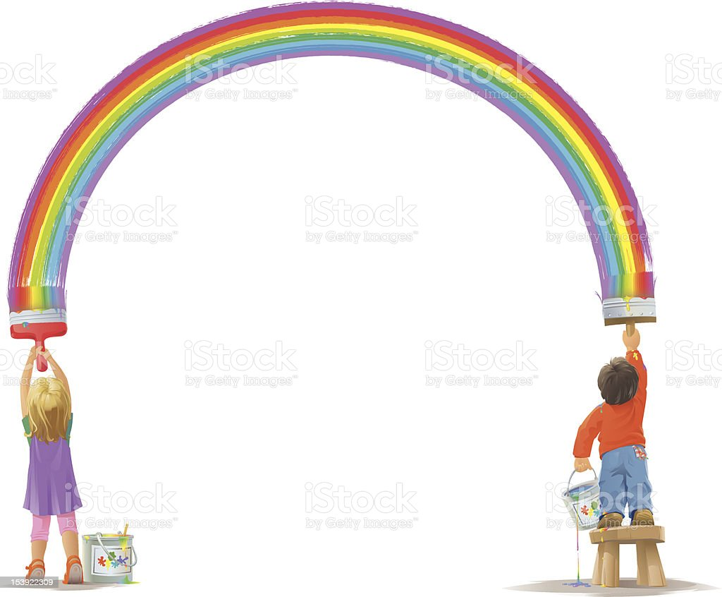 Two Kids Painting a Rainbow royalty-free stock vector art