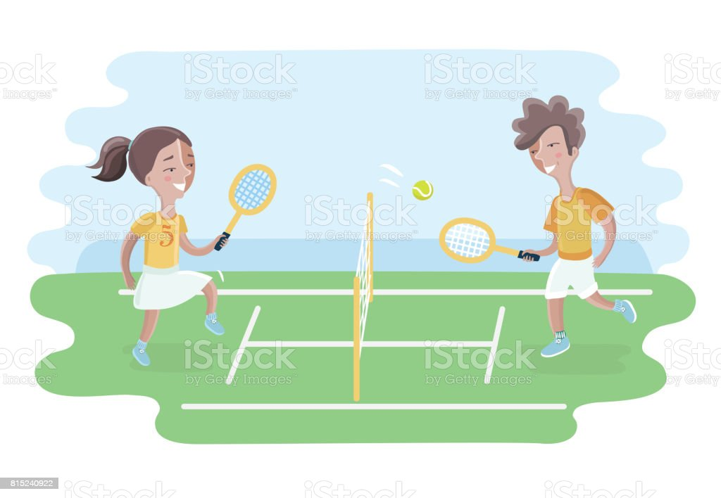 Two kids play tennis on court. Girls and boy vector art illustration