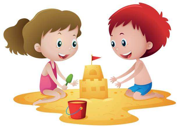 Two kids playing with sandcastle vector art illustration