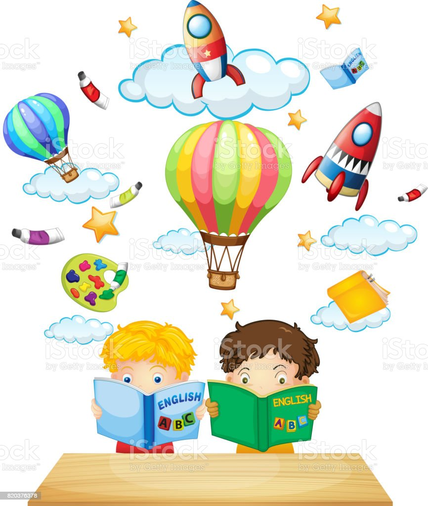 Watercolor books for kids - Two Kids Reading English Books Royalty Free Stock Vector Art