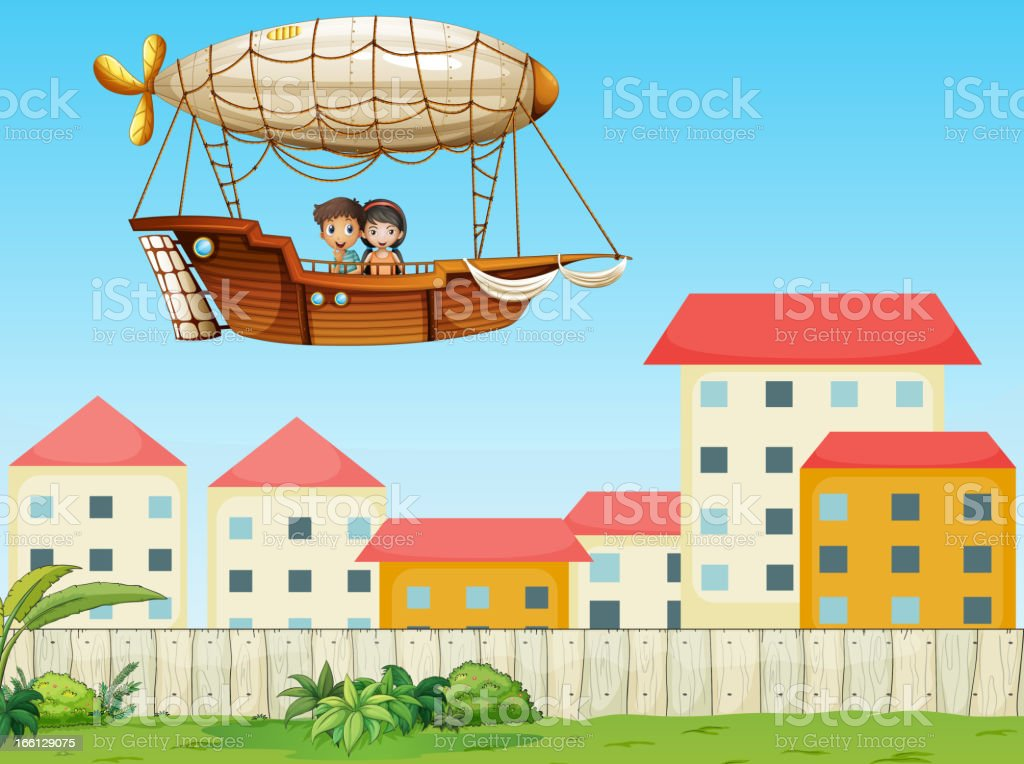 Two kids riding in an aircraft above the village royalty-free stock vector art