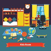 Two kids room with bed, desk, chair and toys