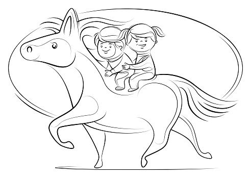 two kids sitting on back of horse line drawing