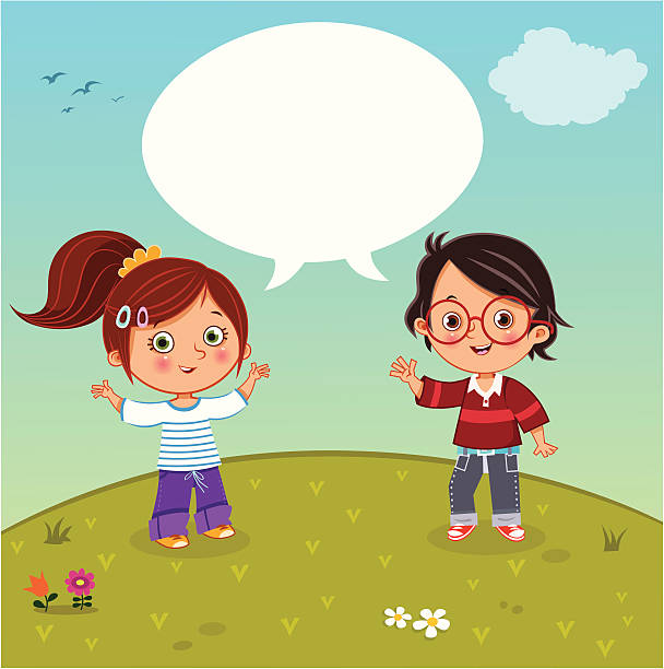 Royalty Free Cartoon Of A Boy Girl Talking Clip Art ...