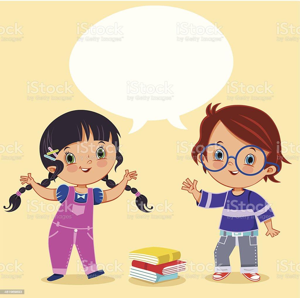Two Kids Talking vector art illustration