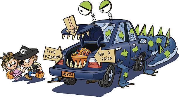Two Kids Trunk or Treat on Halloween Clip Art A vector clip art cartoon of two kids warily approching a car decorated for a trunk or treat event on Halloween. The car is decorated to look like a monster that eats unwary children. boot stock illustrations