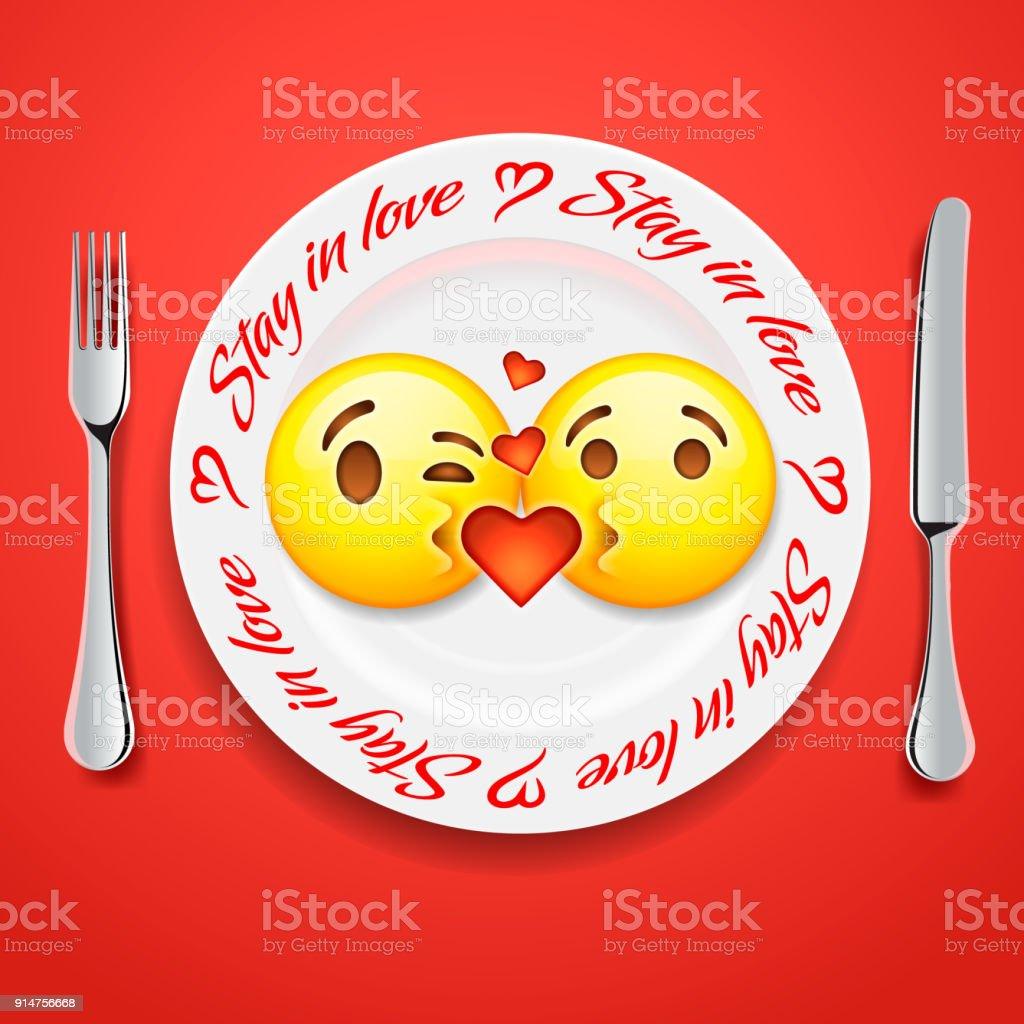 Zwei Kussen Emoji Gesichter In Liebe Emoticon Konzept Fur Den