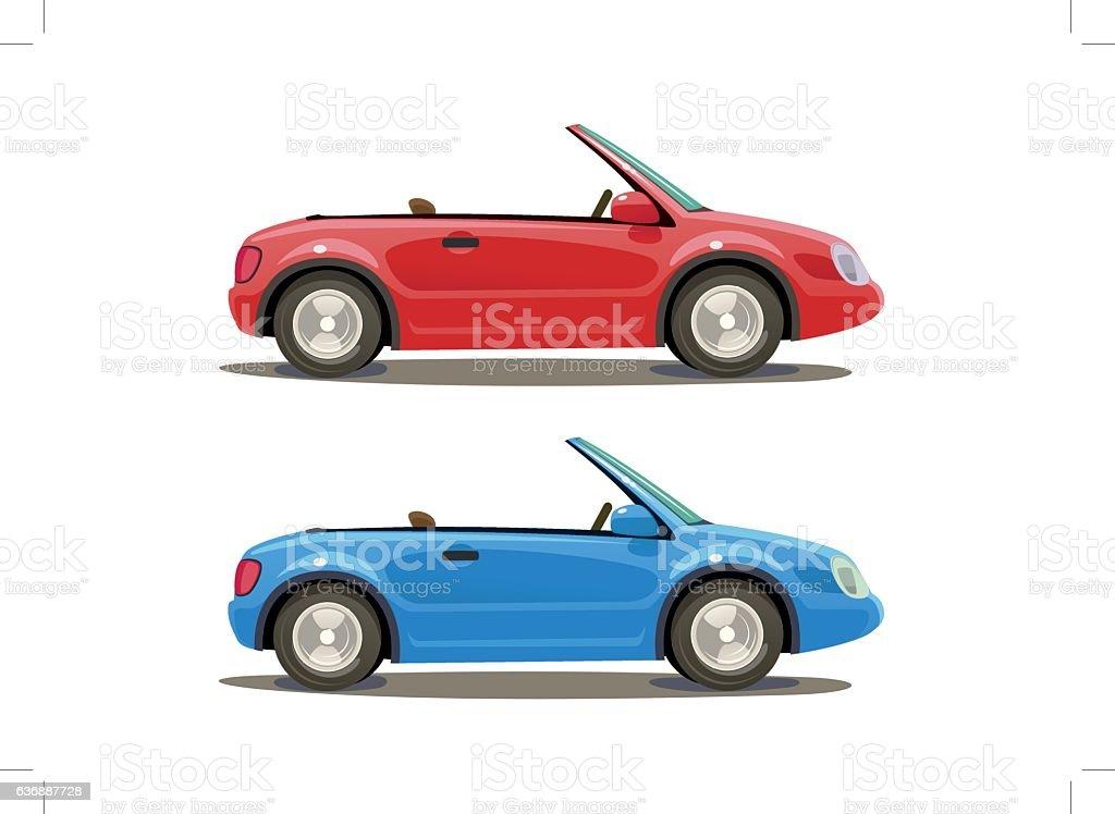 Two kit car vector art illustration