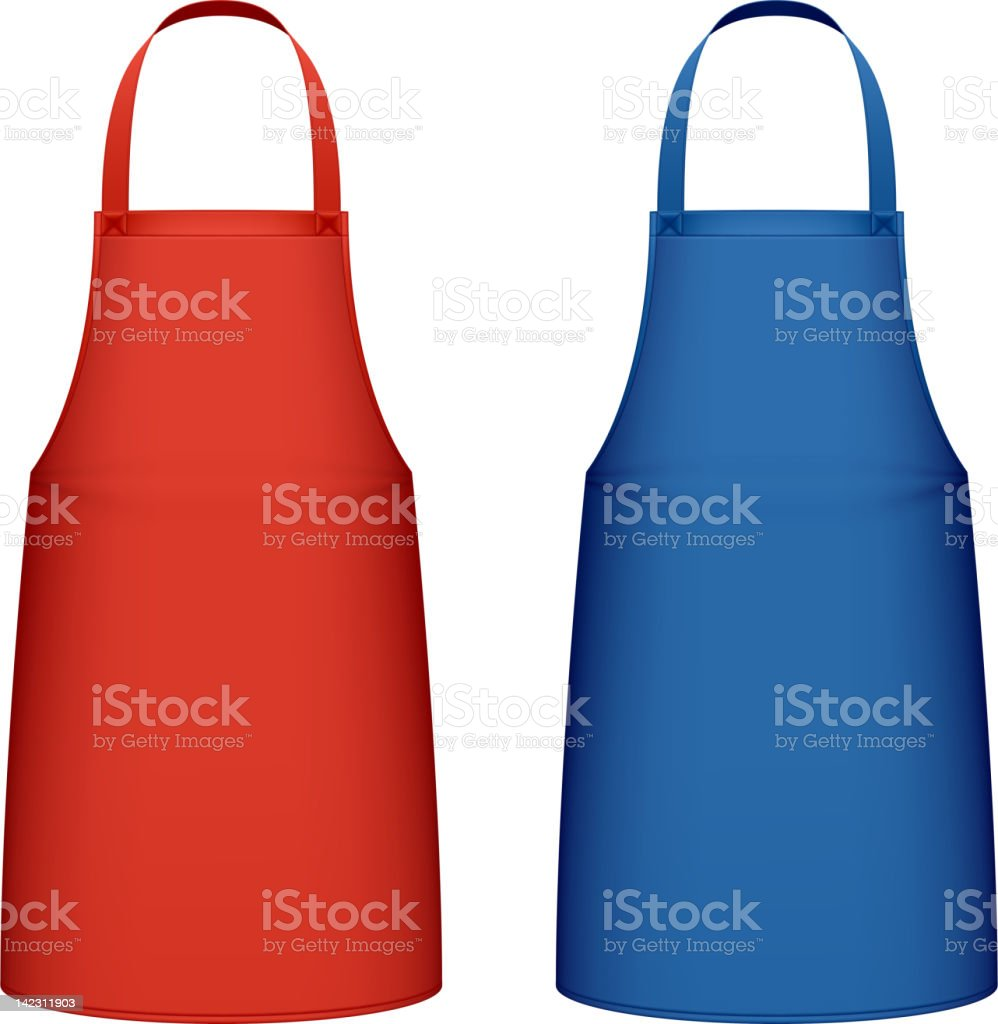 Two kitchen aprons one red and one blue vector art illustration