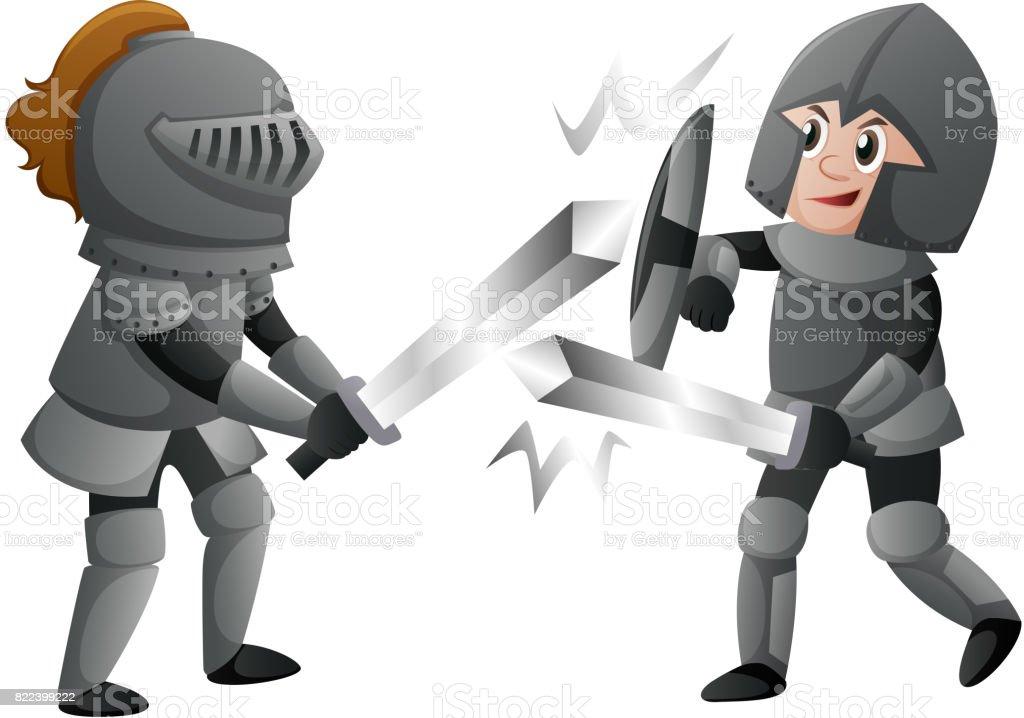 Ilustración de Dos Caballeros En Armaduras De Combate y más banco de ...