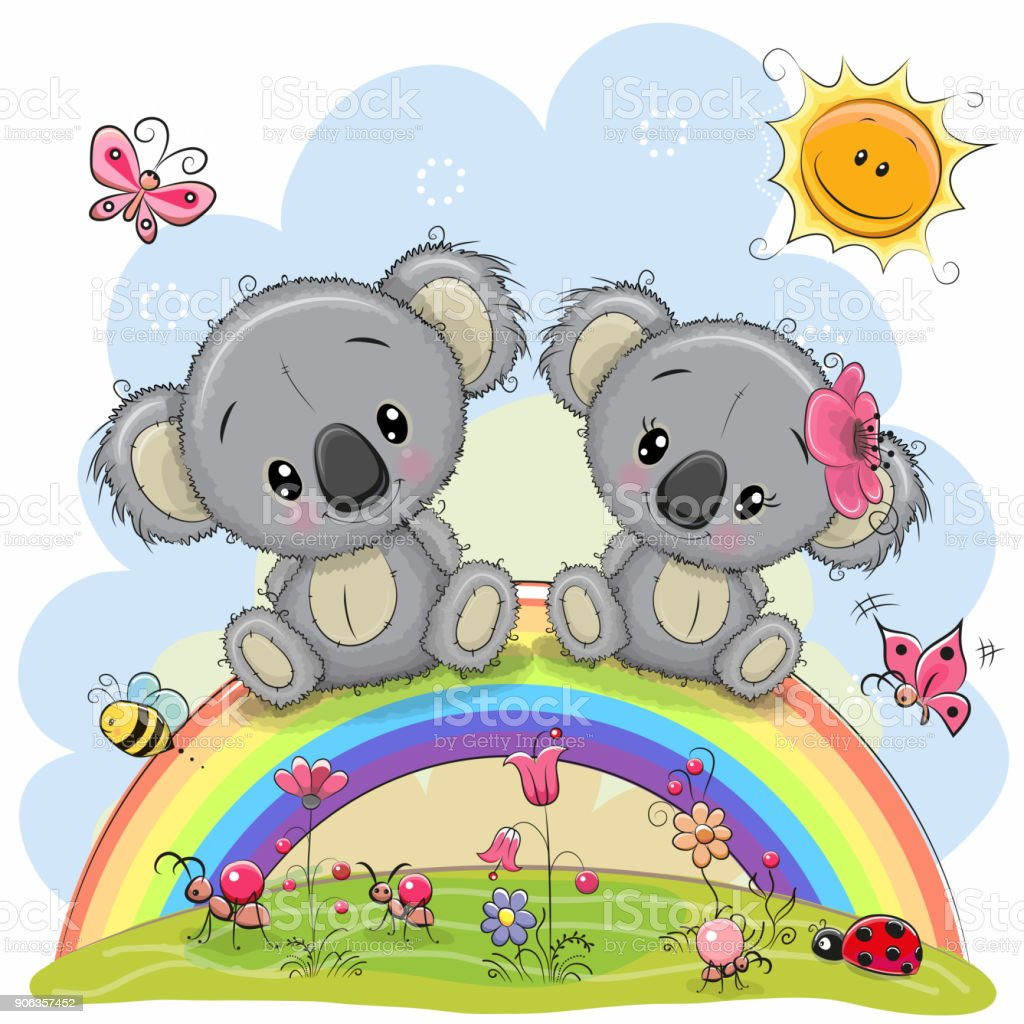Two Koalas are sitting on the rainbow vector art illustration