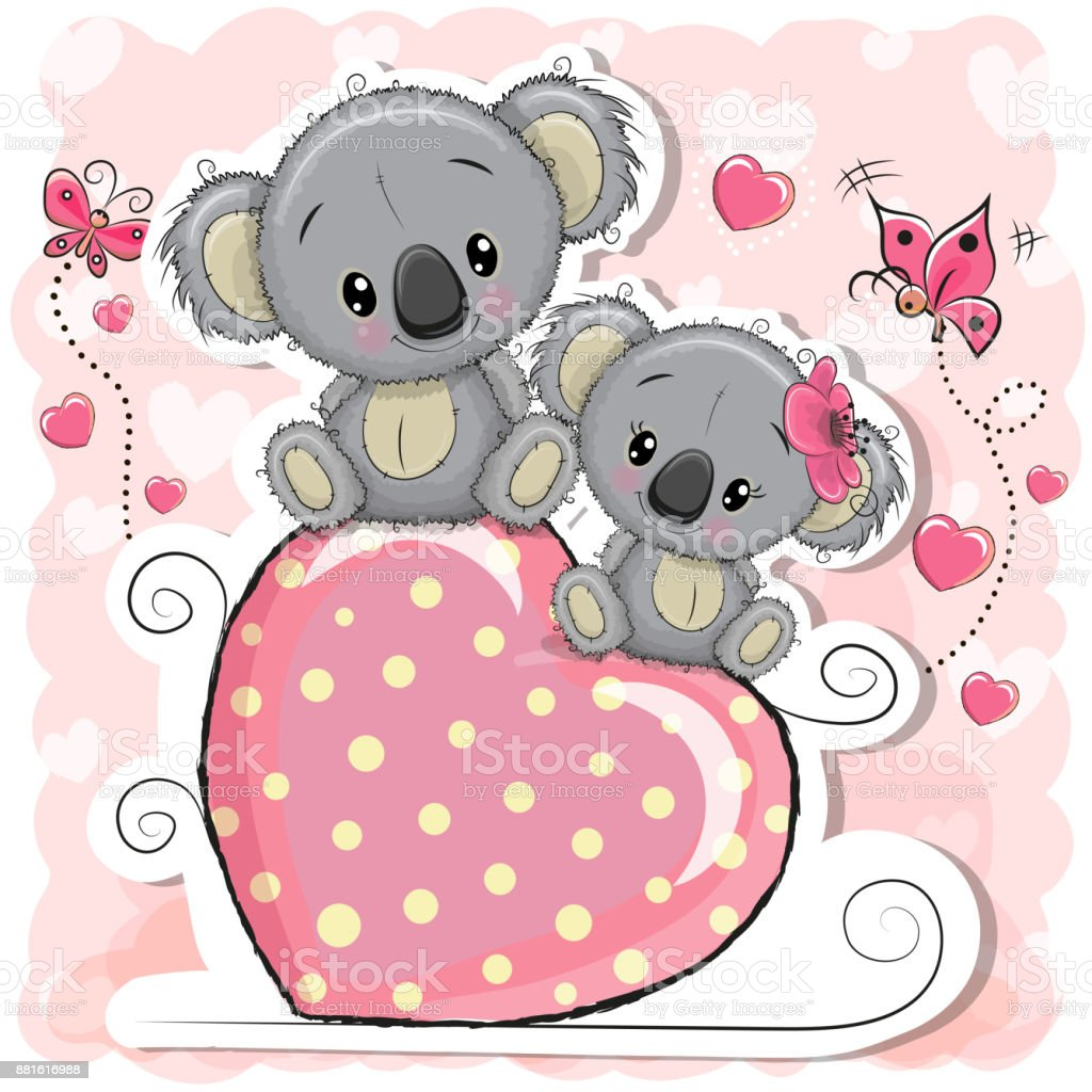 Two Koalas is sitting on a heart vector art illustration
