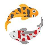 Two koi fishes icon, cartoon style