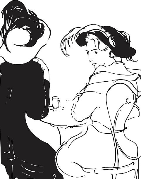 two ladies in the cafe vector art illustration