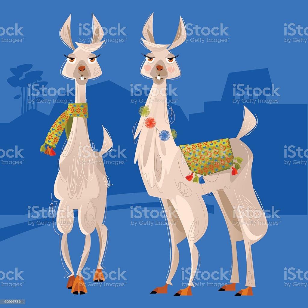 Two lamas. Alpaca. - ilustração de arte em vetor