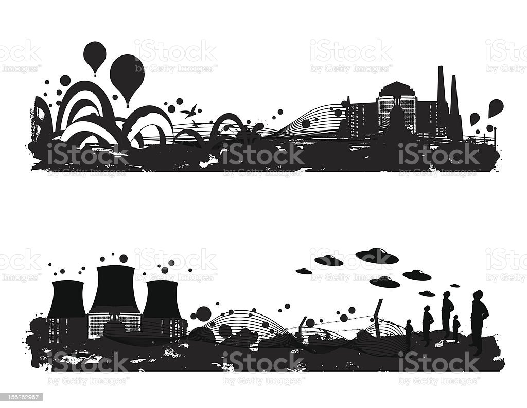 two landscapes royalty-free stock vector art
