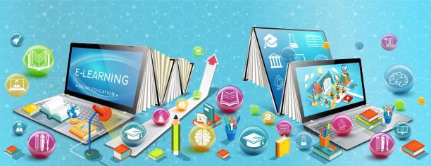 stockillustraties, clipart, cartoons en iconen met twee laptops zoals boeken. het concept van leren. online onderwijs. vector illustratie - e learning