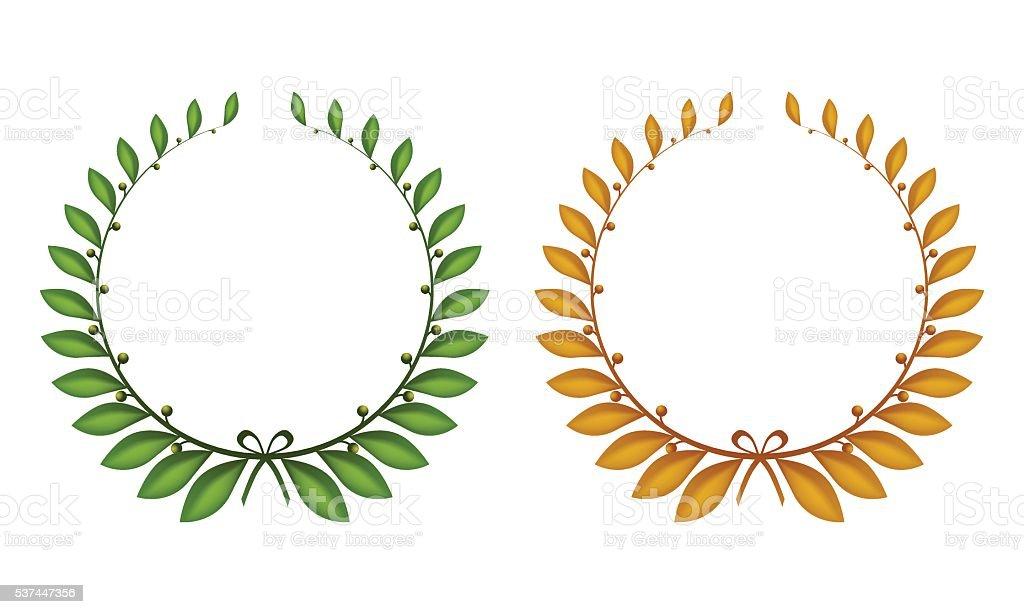 Two laurel wreaths. vector art illustration