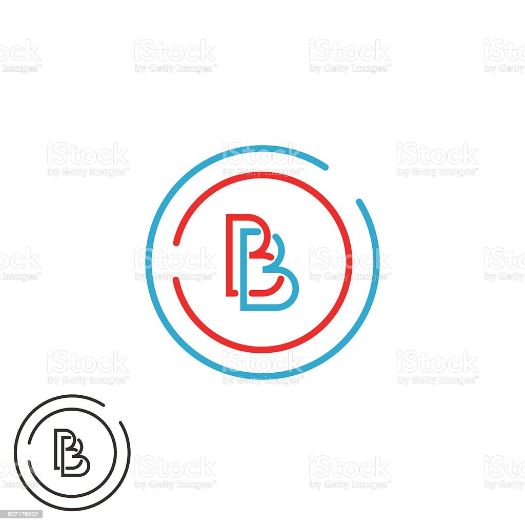 Two letter B logo monogram, bb overlapping imitials circle frame vektör sanat illüstrasyonu