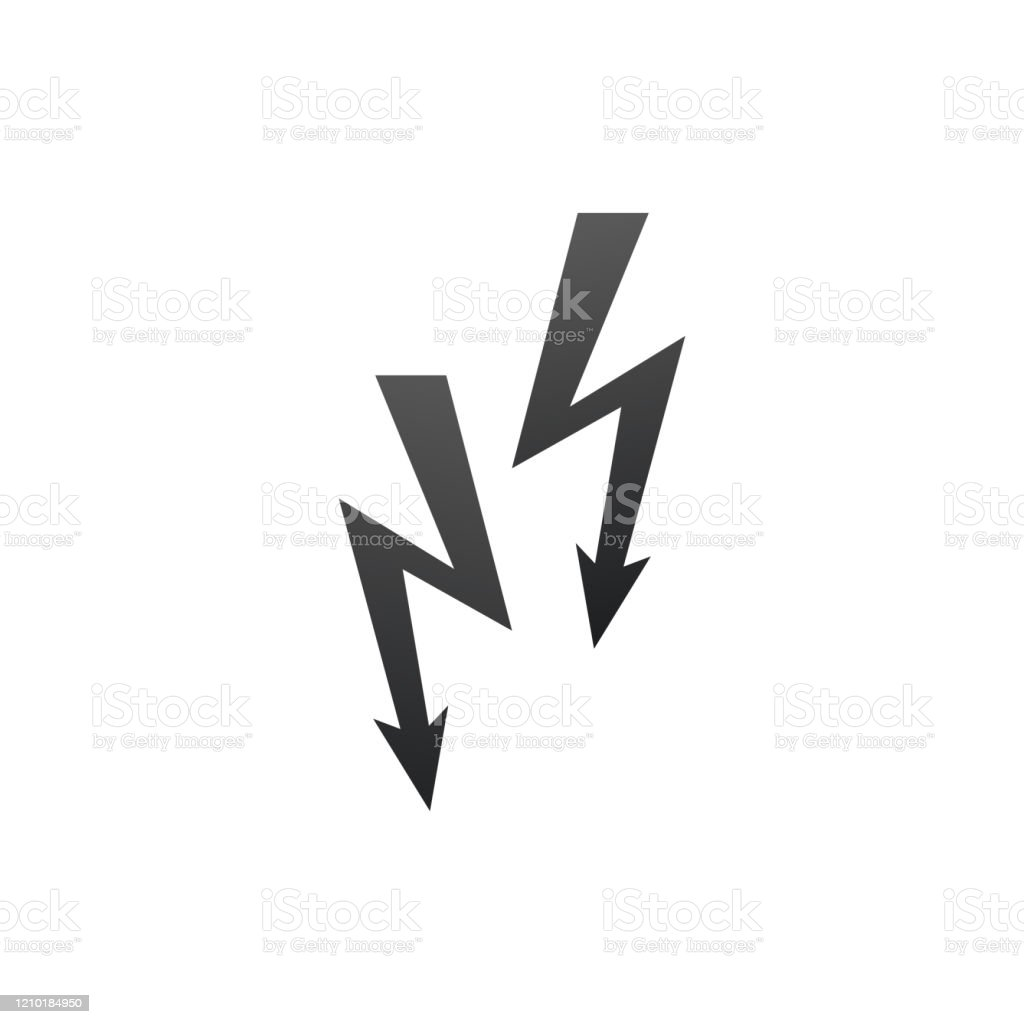 Two Lightning Warning Icon Bolt Icon Vector Energy And Thunder ...