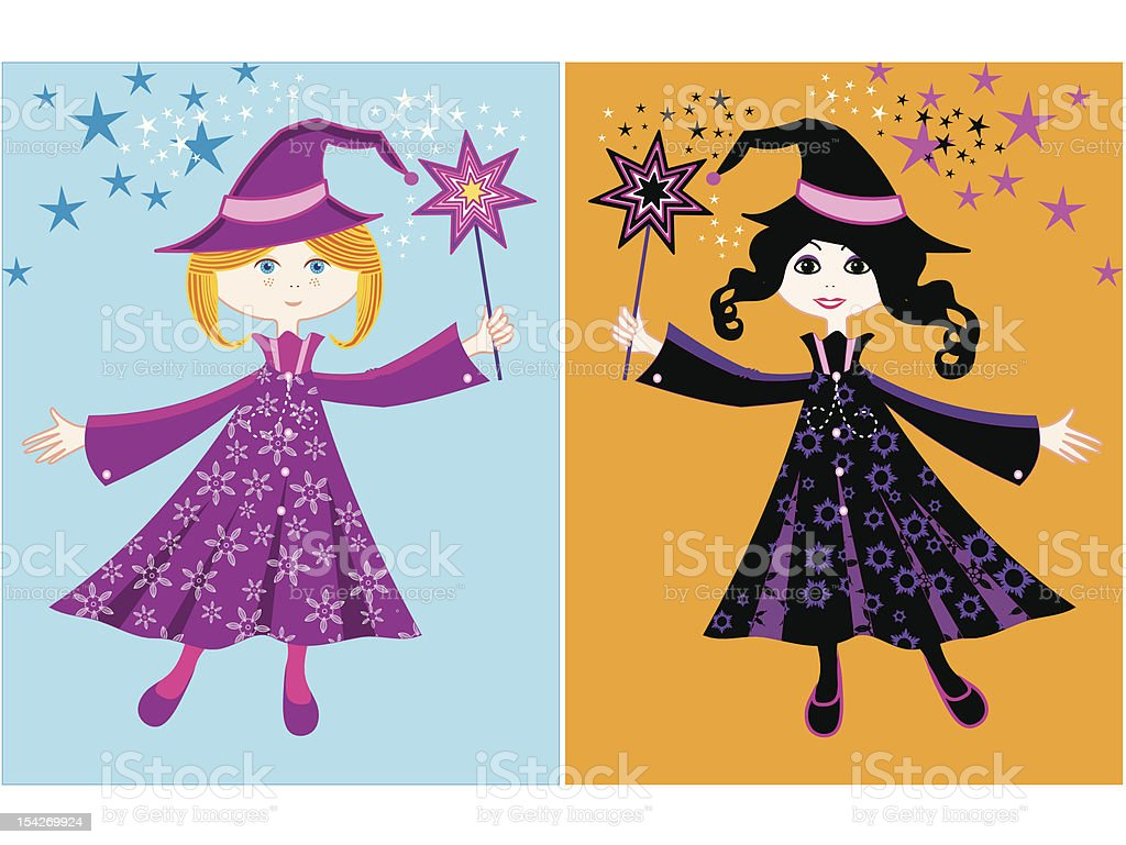 Two liitle witches royalty-free stock vector art