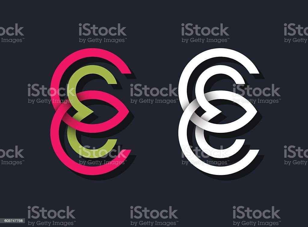 Two line graphical geometrical monograms vector art illustration