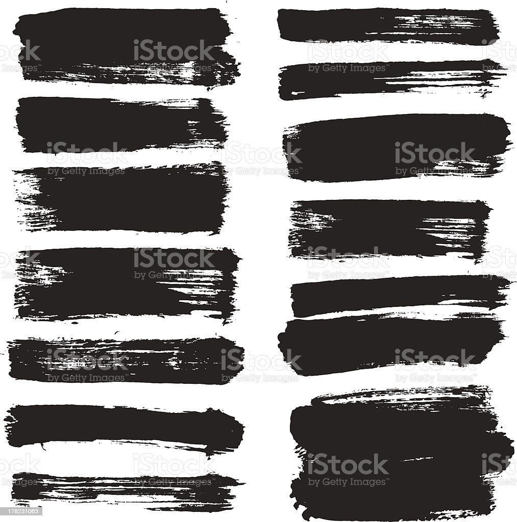 Two lines of black brush strokes on a white background vector art illustration