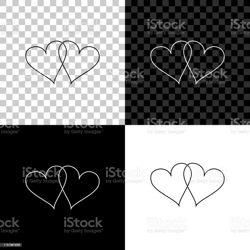 Two Linked Hearts Icon Isolated On Black White And