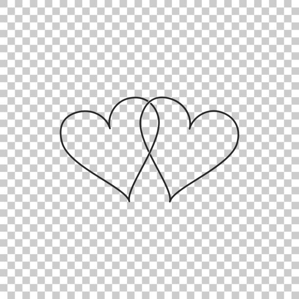 Download Silhouette Of Two Hearts Joined Together Illustrations ...