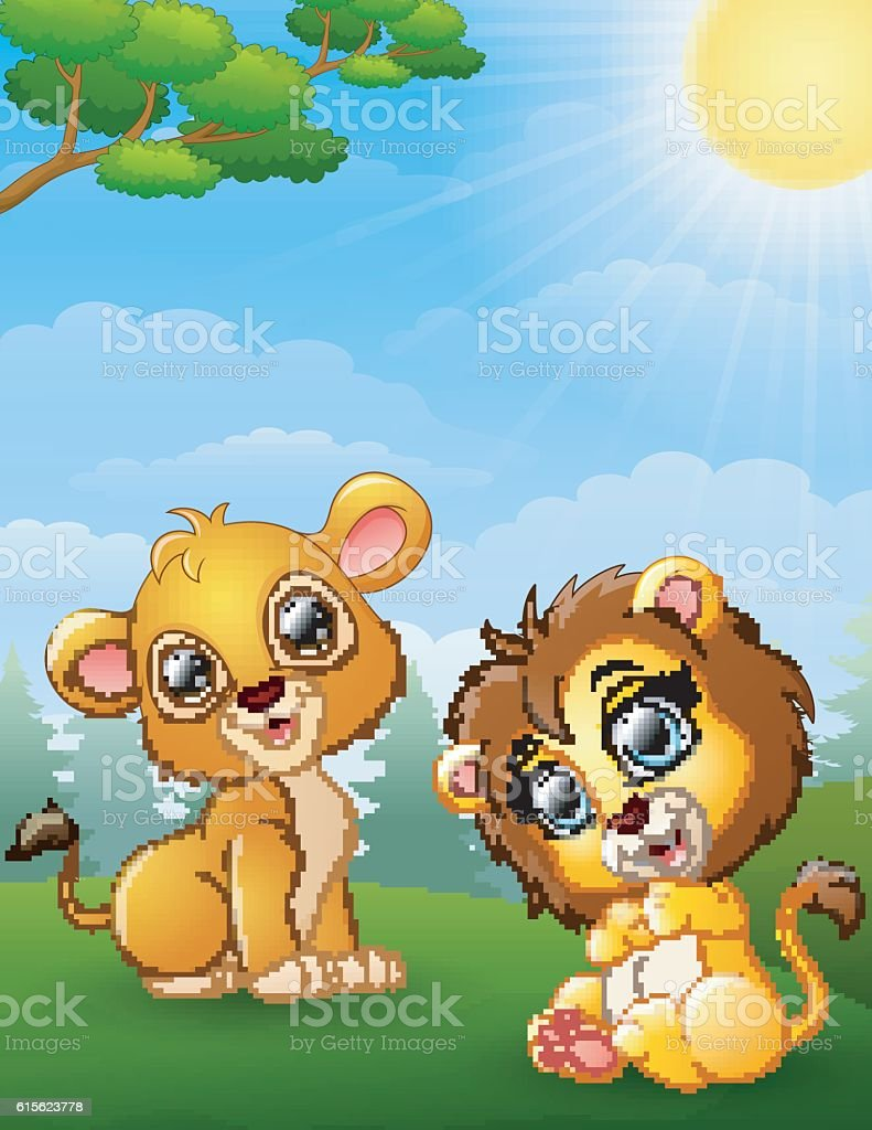 two lion cub cartoon in the jungle stock vector art 615623778 istock