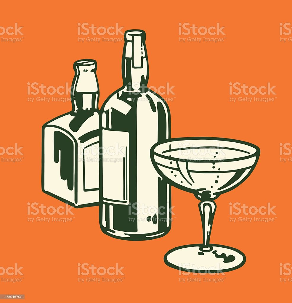 Two Liquor Bottles and Cocktail Glass vector art illustration