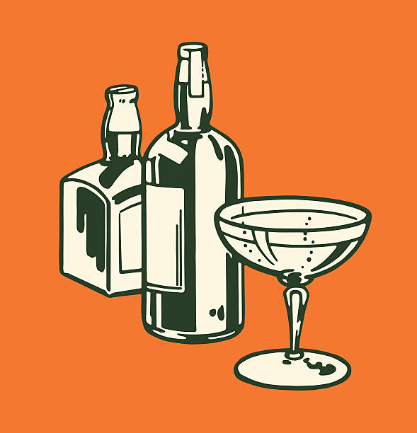 two liquor bottles and cocktail glass - bachelor party stock illustrations, clip art, cartoons, & icons