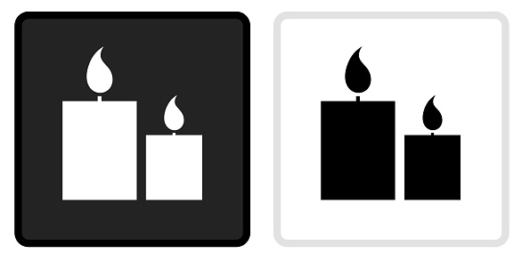 Two Lit Candles Icon on  Black Button with White Rollover