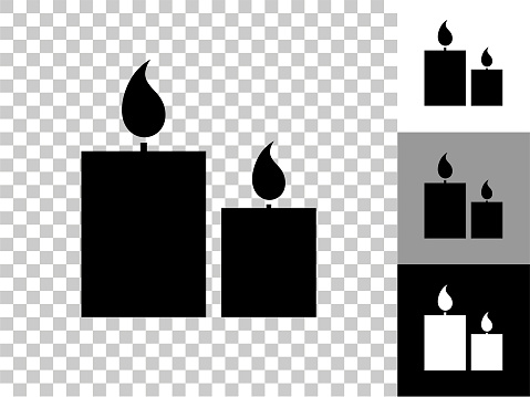 Two Lit Candles Icon on Checkerboard Transparent Background