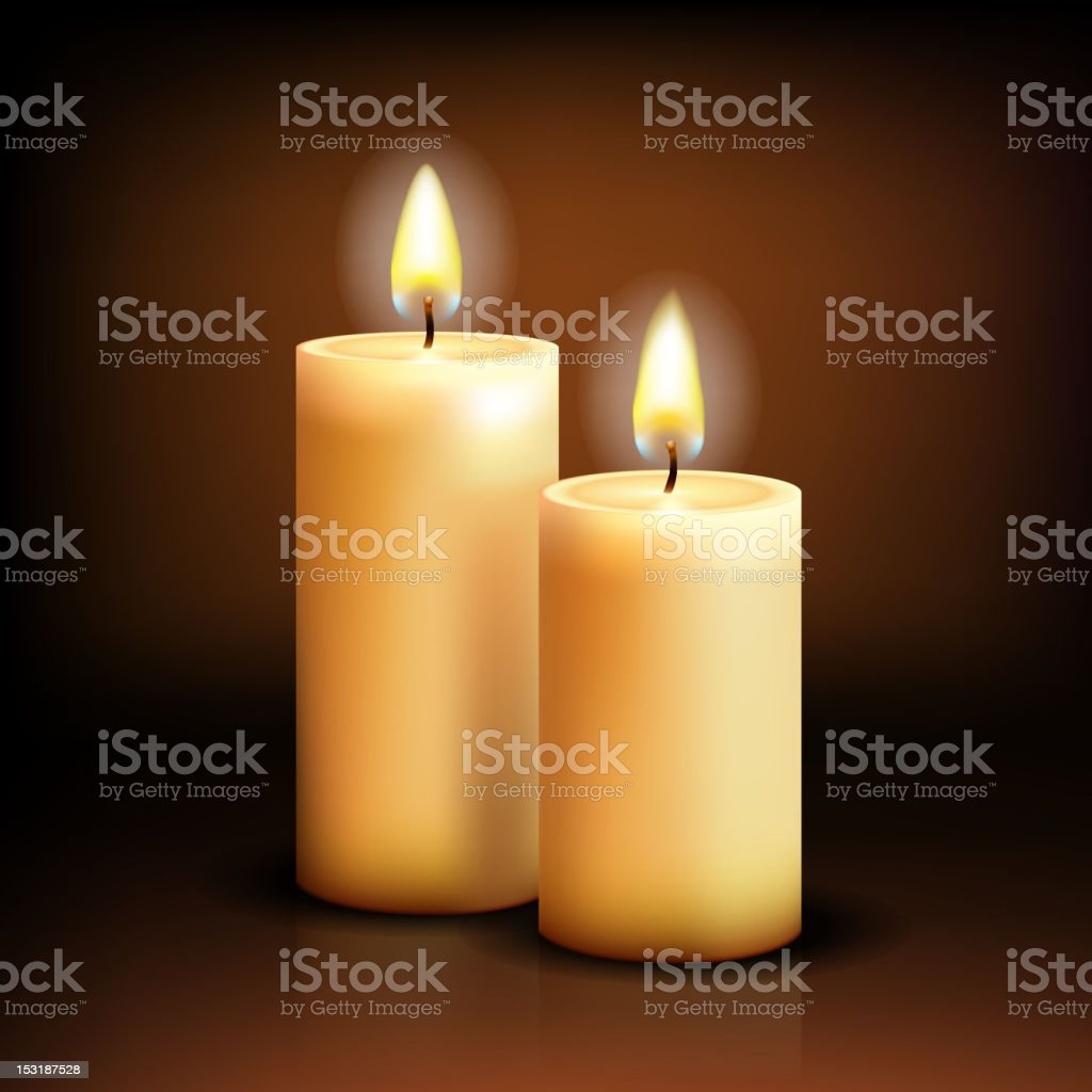 Two lit white wide candles against a simple brown background vector art illustration