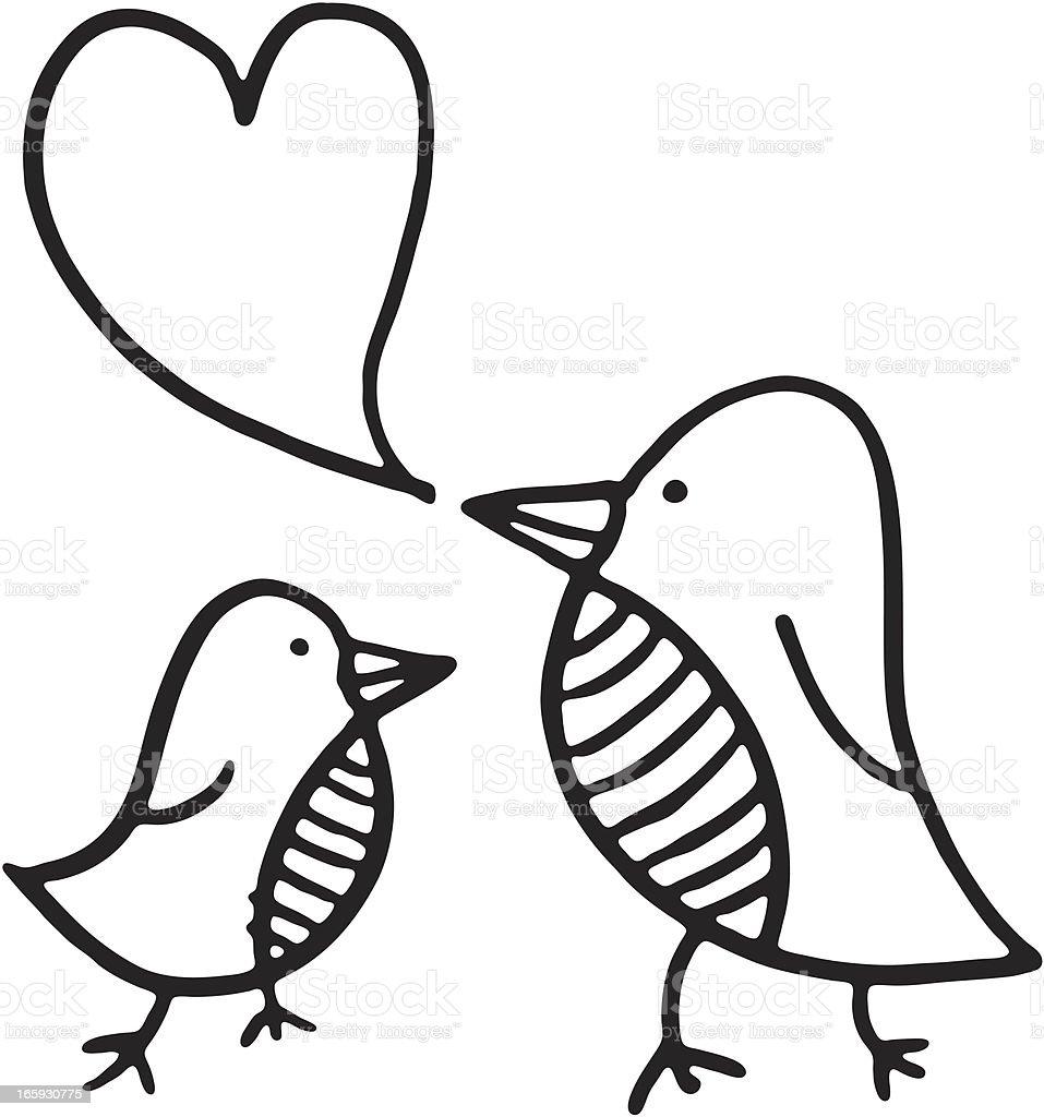 Zwei kleine Vogel tweets – Vektorgrafik