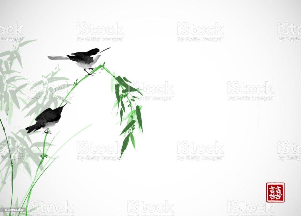 Bambu şube Hiyeroglif çift şans üzerinde Oturan Iki Küçük Kuş