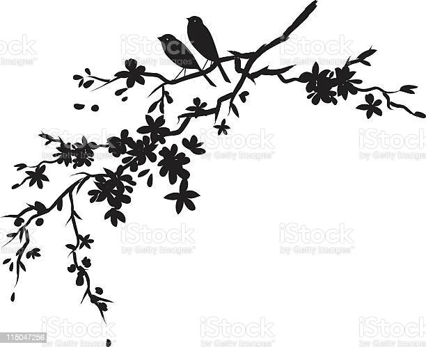 Two little birds sitting on cherry blossoms branch black silhouette vector id115047256?b=1&k=6&m=115047256&s=612x612&h=cvgpxujyqwjfdlqcph2bnrsfhuw6eb2oqhj pzol1q4=