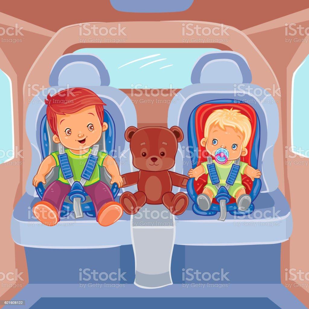 Two little boys sitting in child car seats vector art illustration